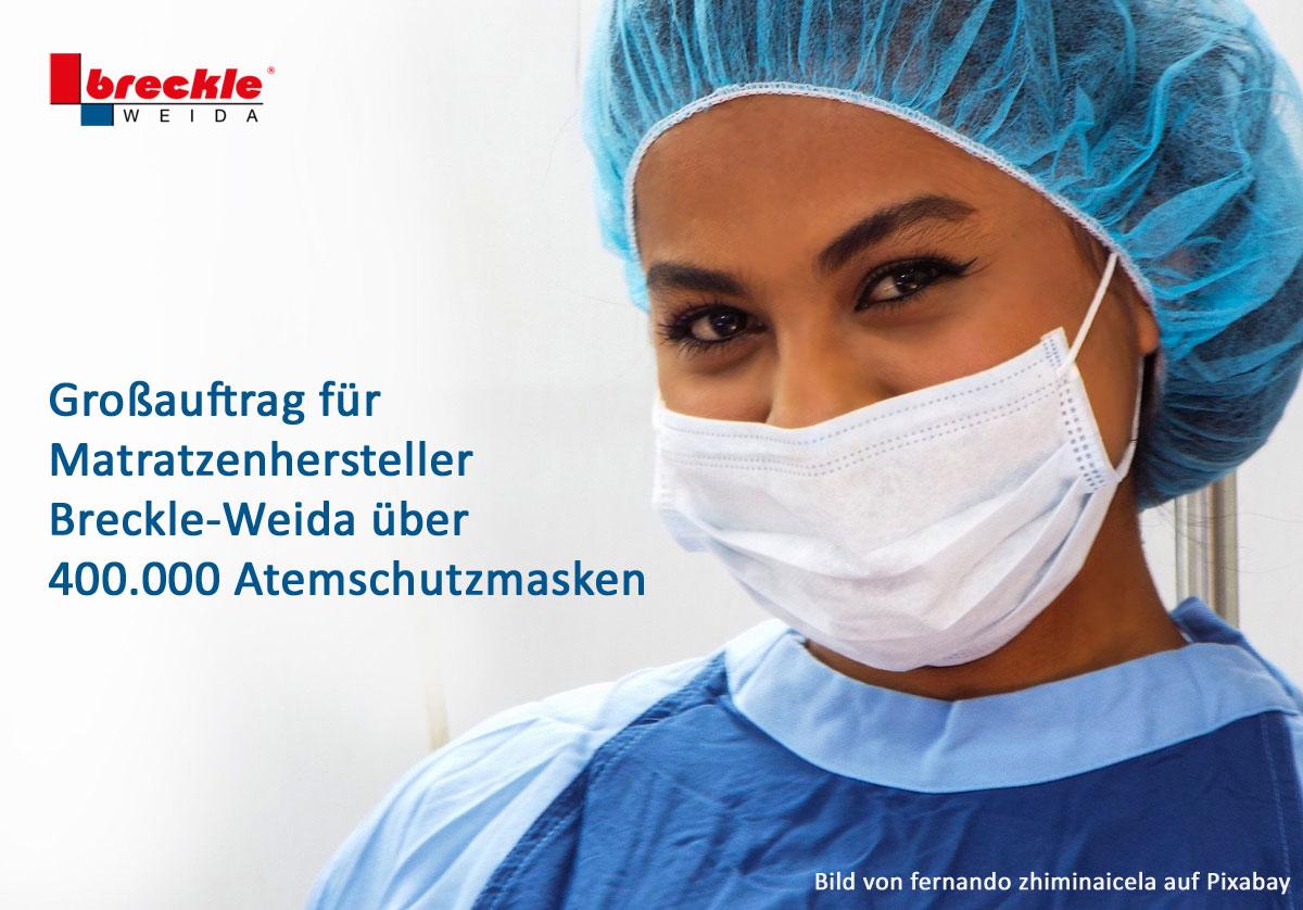Presse Breckle Weida Erhalt Grossauftrag Fur Atemschutzmasken Breckle Matratzenwerk Weida Gmbh